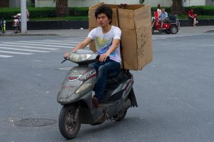 A box on a Scooter